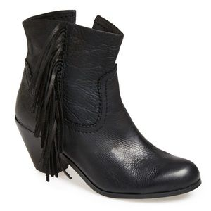 Sam Edelman Louie Black Leather Fringe Booties 7
